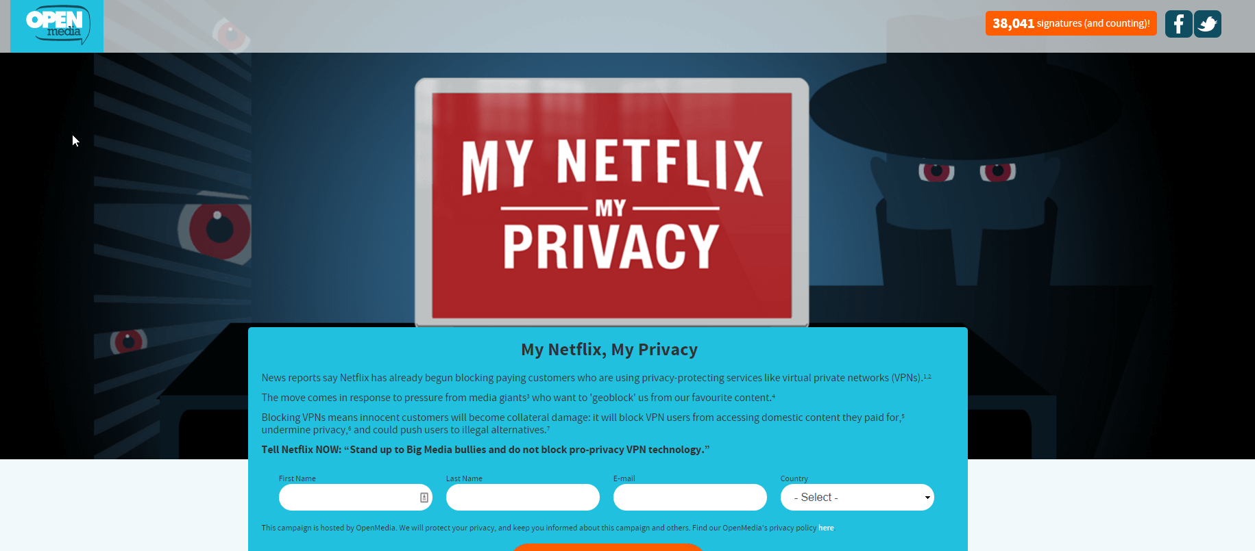 Netflix Unblock VPN Petition has 38,000 signatures